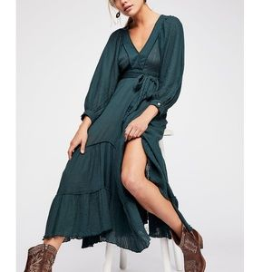 Free People I need to know gauzy maxi dress green